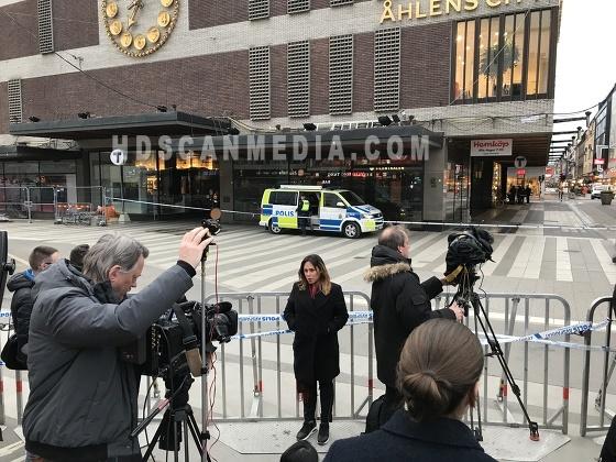 Lastbil terrorattack efterdyningarna i centrala Stockholm