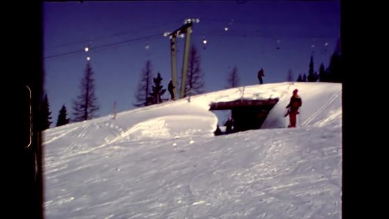 People pulled in ski lift
